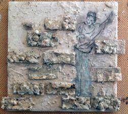 graffiti man leaning on wall styro bricks