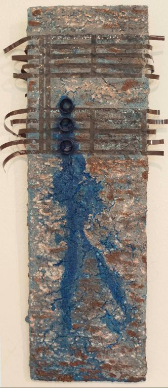 """""""Bluesman"""", 5"""" x12"""", mixed media on tile, Private Collection, US"""