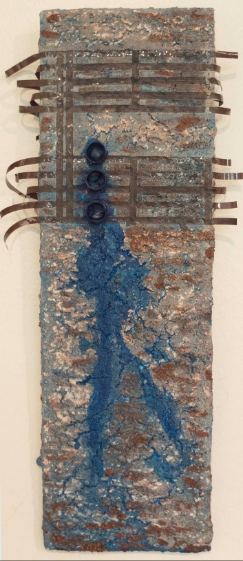 """Bluesman"", 5"" x12"", mixed media on tile, Private Collection, US"