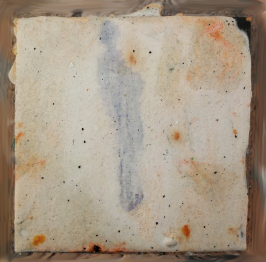 """Standing, 4"""" x 4"""", Salt, ink, oil"""