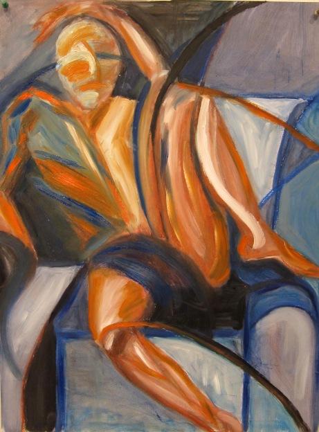 """""""Ribbon Man"""" Oil on paper, 18"""" x 24"""""""