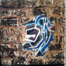 """Graffiti Dog"" , mixed media, 6"" x 6"""