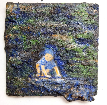 """Learning to Crawl , 6"""" x 6"""" Private Collection, US"""