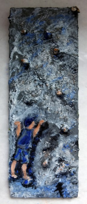 """Rocks, 3"""" x 6"""", composed substrate, rocks, paint"""