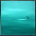 DSCF5402 sea glass lone boat on still sea tryptch1