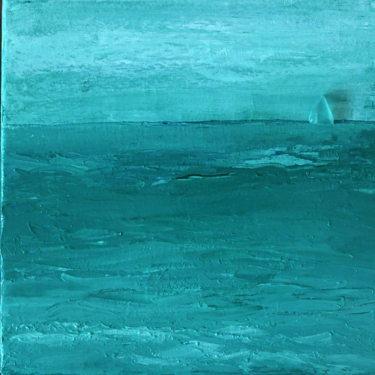 Seaglass sailboat tryptych 1