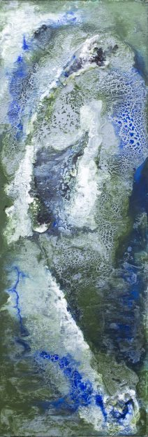 """Flying over My Beginnings, 12"""" x 30"""", mixed medias on canvas"""