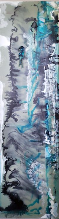 """Bird at the Shore Line, 30"""" x 12"""" x 48"""", Oil, ink, acrylic, various glues on canvas"""