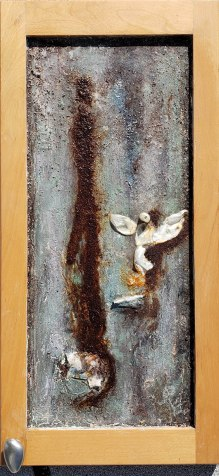"""Onion Skin Angel, 12"""" x 24"""" Maple cabinet, coffee, spices, paints, onion skins"""