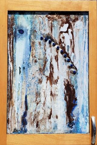 "Pain Free, 16.5"" x 24"", Maple cabinet coor, retro handle, oill, coffee, medicine"